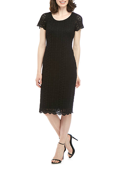 Ronni Nicole Short Sleeve Lace Sheath Dress
