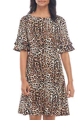 0718a6f4384de2 Ronni Nicole Double Ruffle Sleeve Animal Print Shift Dress ...