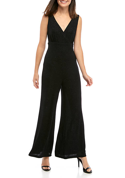 Ronni Nicole Womens Sleeveless V Neck Sparkle Jumpsuit