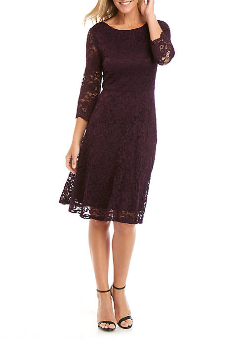 Ronni Nicole 3/4 Sleeve Lace Fit and Flare