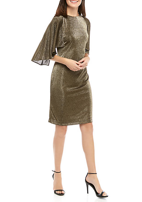 Ronni Nicole Womens Gold Metallic Caplette Dress