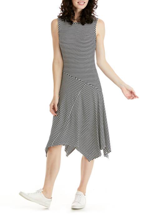 Womens Sleeveless Ribbed Knit Asymmetric Hem Dress