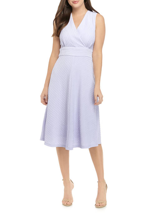 Womens Sleeveless Textured Knit Dress
