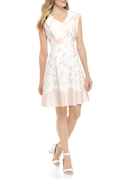 Womens V Neck Cap Sleeve Lace Puff Fit and Flare Dress