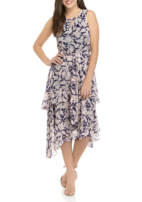 Ronni Nicole Womens Halter Neck Pleated Floral Maxi