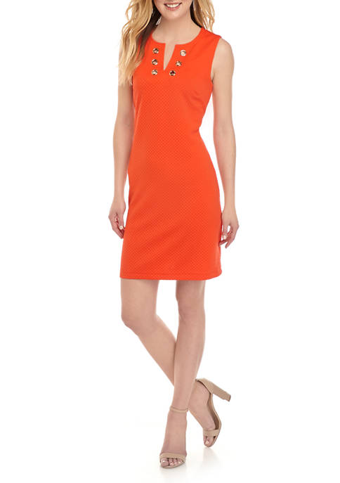 Womens Grommet Textured Sheath Dress