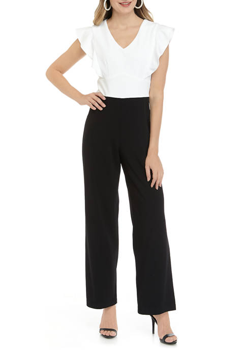 Ronni Nicole Womens Flutter Sleeve Color Block Jumpsuit