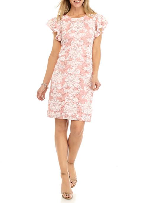 Ronni Nicole Womens Flutter Sleeve Lace Print Sheath