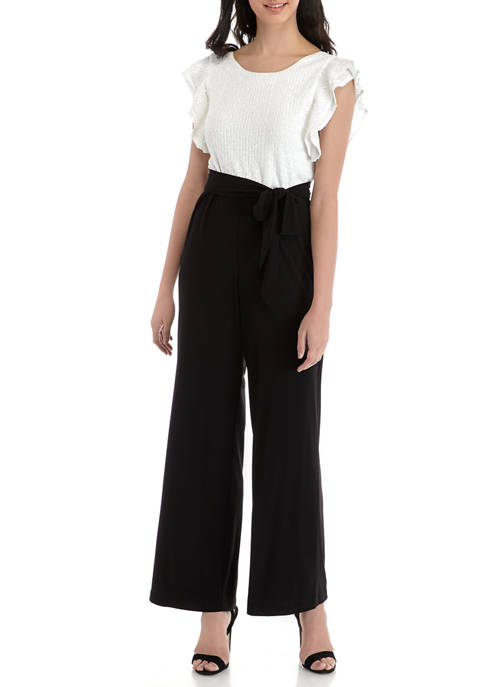 Ronni Nicole Womens Flutter Sleeve Sequin Top Jumpsuit