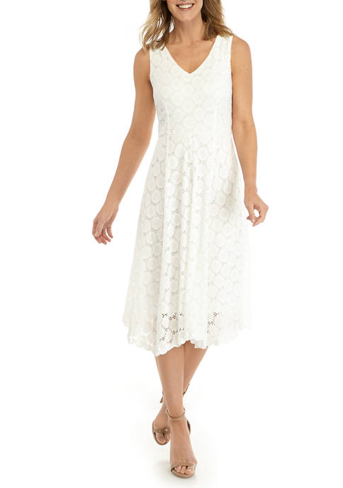 Womens Circle Knit Eyelet V-Neck Fit and Flare Dress