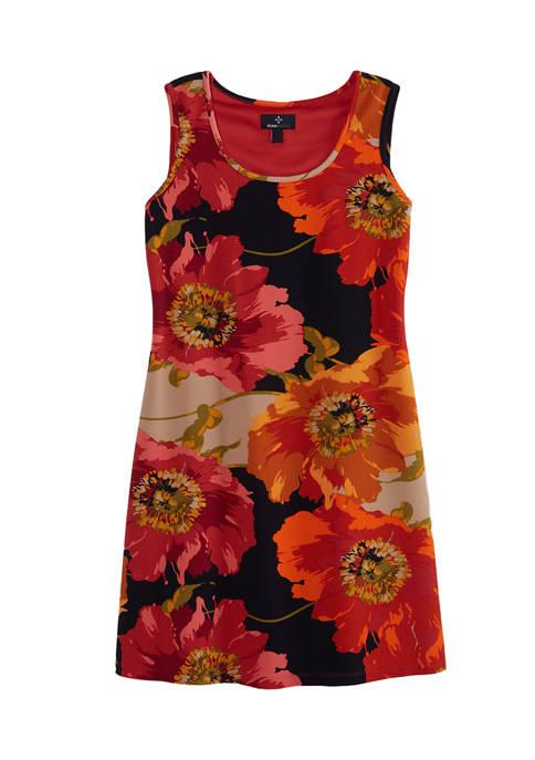Womens Floral Sleeveless Sheath Dress