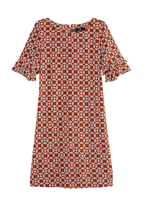 Womens Double Ruffle Sleeve Geometric Shift Dress