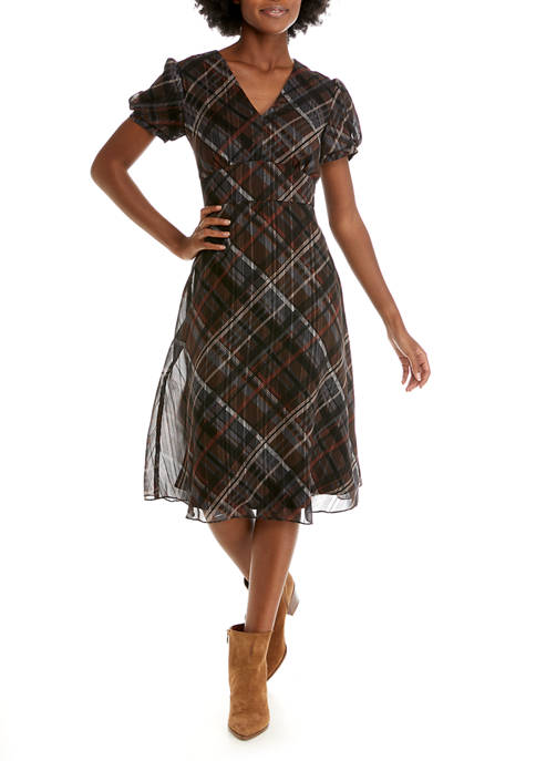 Womens Short Sleeve Sheer Plaid Fit and Flare Dress
