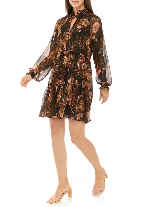Ronni Nicole Womens Short Sleeve Mod Plaid Dress