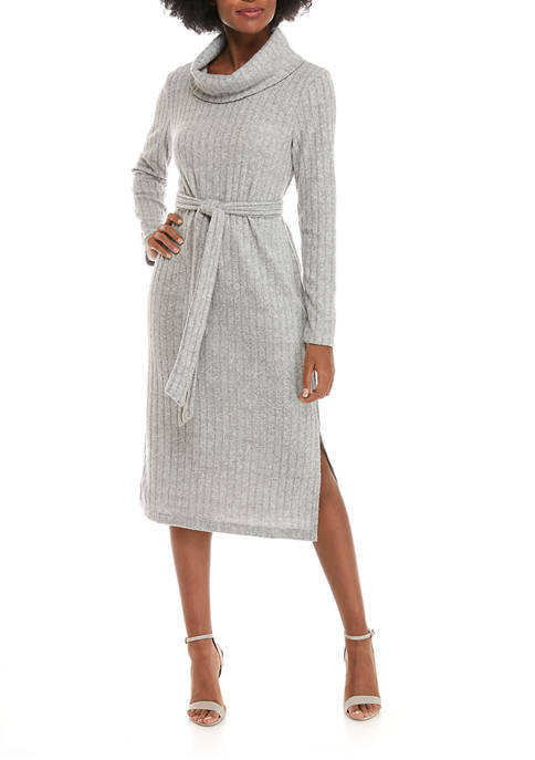 Womens Cowl Neck Belted Knit Midi Dress