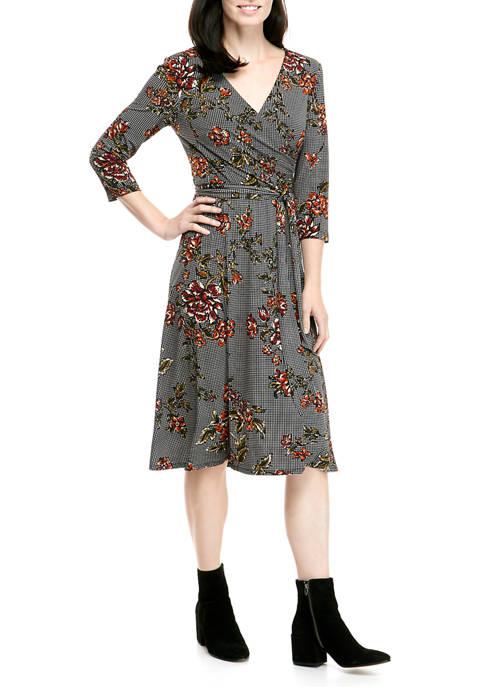 Ronni Nicole Womens 3/4 Sleeve Floral Wrap Midi