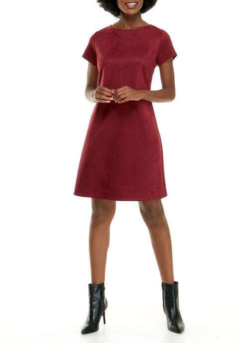 Womens Short Sleeve Faux Suede Shift Dress
