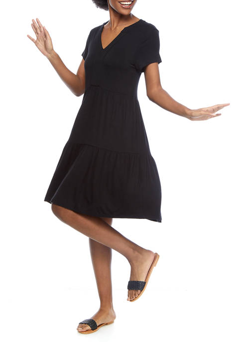 Womens Short Sleeve Tier Peasant Dress