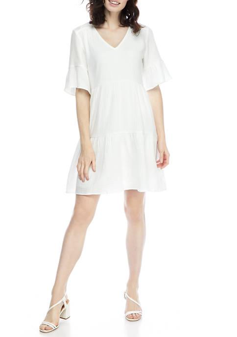 Womens Bell Sleeve Gauze Shift Dress