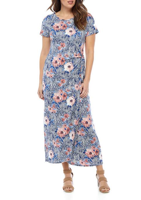 Womens Floral Printed Mock Wrap Maxi Dress