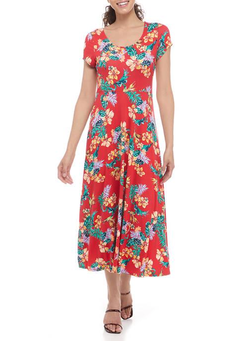 Womens Short Sleeve Scoop Neck Floral Midi Dress