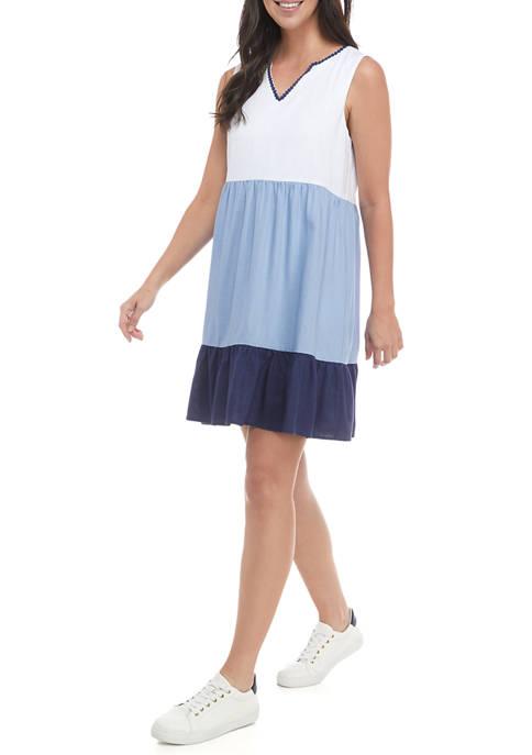 Womens Sleeveless Color Block Babydoll Dress
