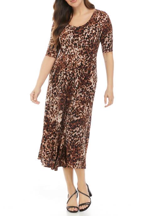 Womens Elbow Sleeve Leopard Print Midi Dress