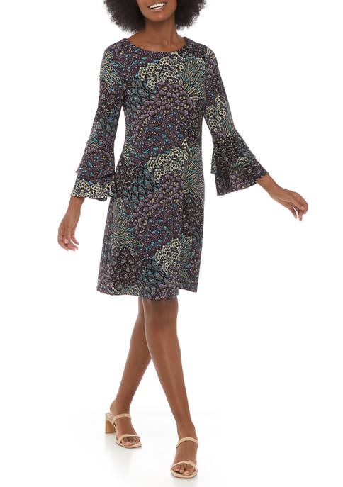 Womens 3/4 Sleeve Cha Cha Feather A-Line Dress