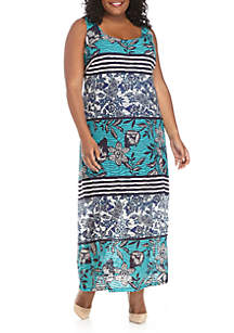 Plus Size Sleeveless Printed Textured Knit Maxi Dress