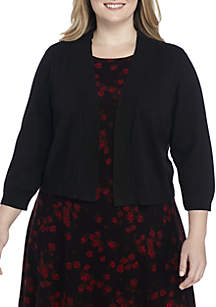 Plus Size Solid Knit Topper