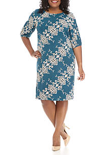 Plus Size Short Sleeve Diagonal Puff Print Dress