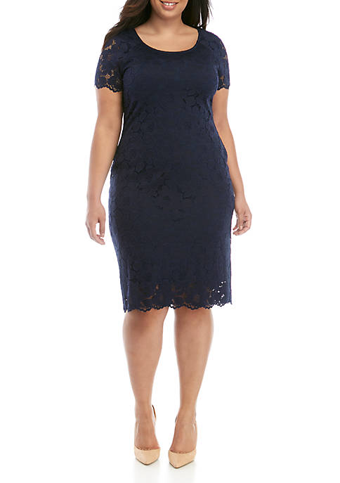 Plus Size Short Sleeve Lace Midi Dress