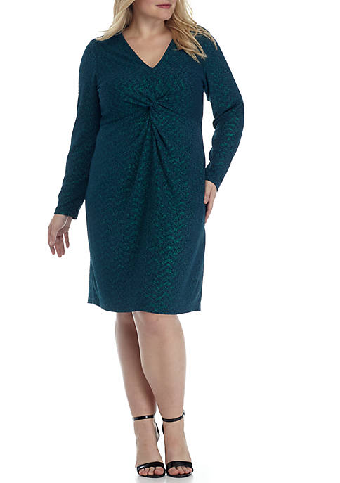 Ronni Nicole Plus Size Long Sleeve Rouched Front