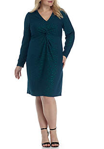 Plus Size Long Sleeve Rouched Front Dress