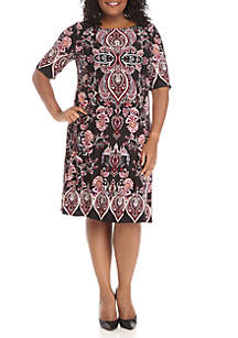 Plus Size Short Sleeve Puff Print Shift Dress