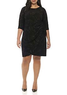 Ronni Nicole Plus Size 3/4 Tie Waist Glitter Print Dress
