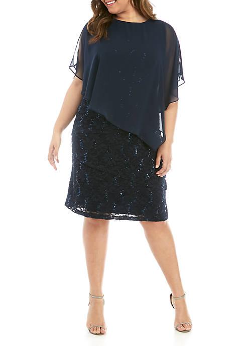 229a8694272e2 Ronni Nicole Plus Size Short Poncho Lace Dress