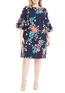 Plus Size Floral Print Bell Sleeve Dress