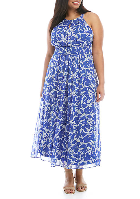 Ronni Nicole Plus Size Maxi Halter Printed Dress
