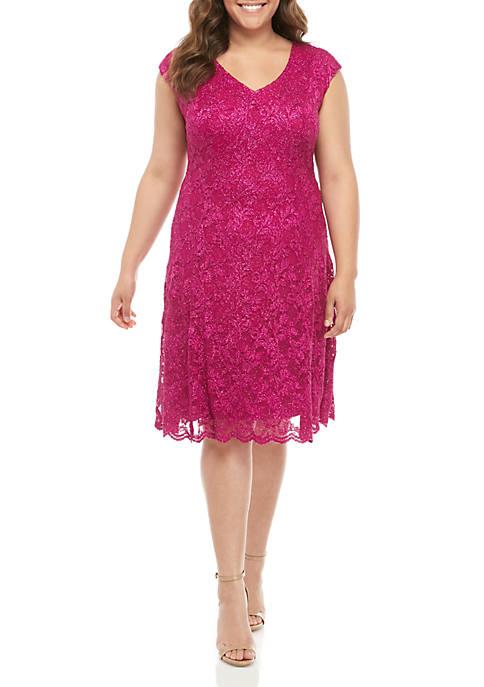 Plus Size Cap Sleeve Lace A Line Dress