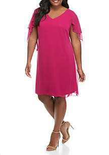 Ronni Nicole Plus Size Short Sleeve Caplet Dress