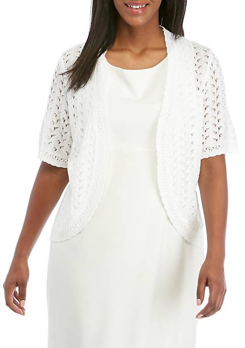 Ronni Nicole Plus Size Short Sleeve Crochet Topper
