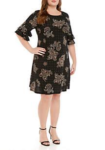 Ronni Nicole Plus Size Ruffle Sleeve Windowpane Shift Dress