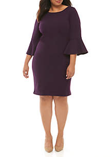 Ronni Nicole Plus Size Solid Bell Sleeve Shift Dress