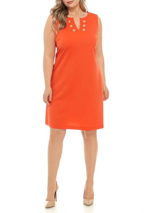 Ronni Nicole Plus Size Geometric Textured Sheath Dress