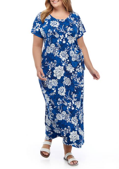 Plus Size Short Sleeve Floral Tie Midi Dress