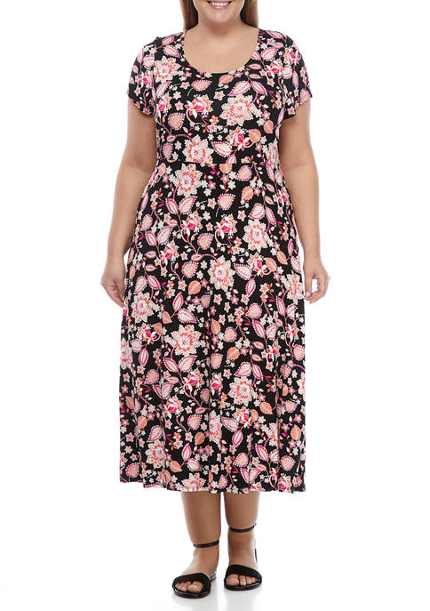 Plus Size Short Sleeve Printed Midi Dress