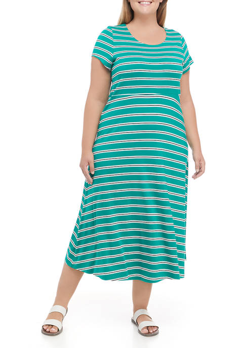 Ronni Nicole Plus Size Stripe Scoop Neck Midi