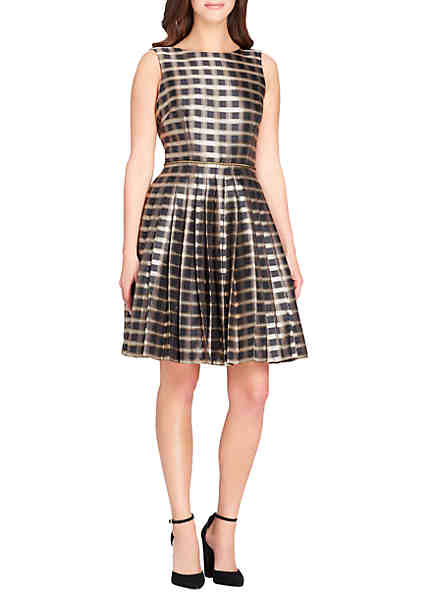 Tahari ASL Sleeveless Plaid Metallic Fit And Flare Dress ...