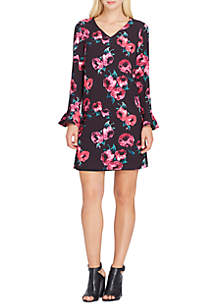 Long Sleeve Floral Shift Dress with Ruffle Sleeves